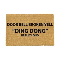 Funny Doormat - Yell Ding Dong, black/brown