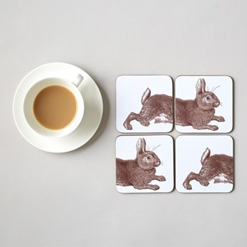 Classic Rabbit & Cabbage Set of 4 coasters, 10 x 10cm