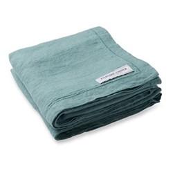 Linen beach towel, reef green