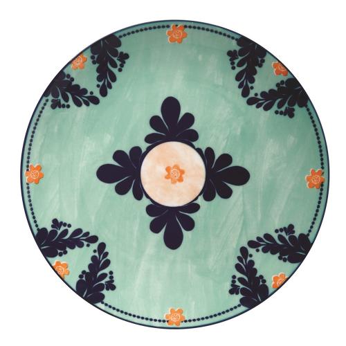 Majolica Majolica Porcelain Dinner Plate Teal, Multi