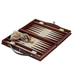 Backgammon set, W23 x D39cm, conker brown
