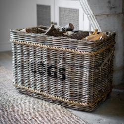 Log basket with rope, 52 x 44 x 78cm