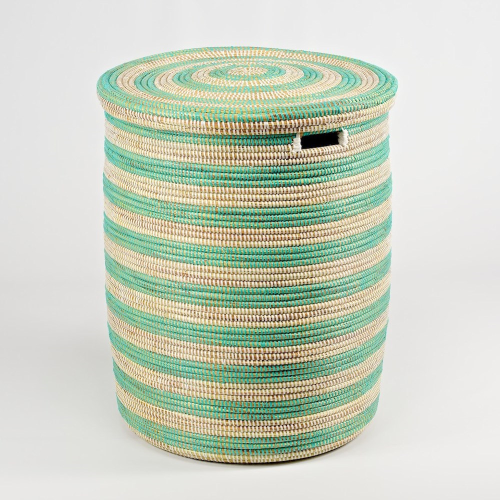 African Laundry basket with flat lid, 53 x 38cm, Natural/Mint Stripes