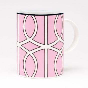 Loop Mug, 10.2 x 7.6cm, pink/white (black rim)