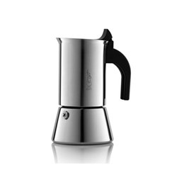 Venus Induction stainless steel stovetop coffee maker, 6 cup, silver