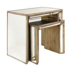 Versailles Pair of side tables, W69 x D41 x H61cm, Oak