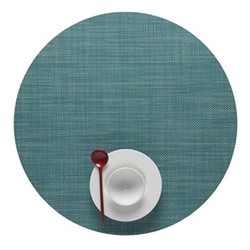 Mini Basketweave Set of 4 round placemats, 38cm, turquoise