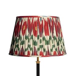 Straight Empire Ikat printed lampshade, 35cm, heraldic linen