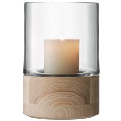 Lotta Vase/lantern, 22.5cm, clear with ash base