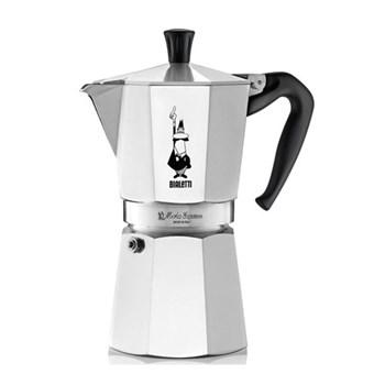 Moka Express Aluminium stovetop coffee maker (9 cup), silver