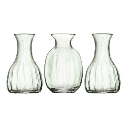 Mia Mini vase trio, 11cm, recycled glass