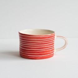 Sgrafitto Stripe Set of 6 mugs, H7 x W10.5cm, paprika