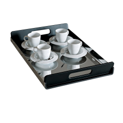 Vassily by Lacchetti Giulio Tray, 45 x 30cm, Polished Stainless Steel With Black Resin Handles