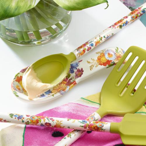 Flower Market Spoon rest, 21 x 3cm, white
