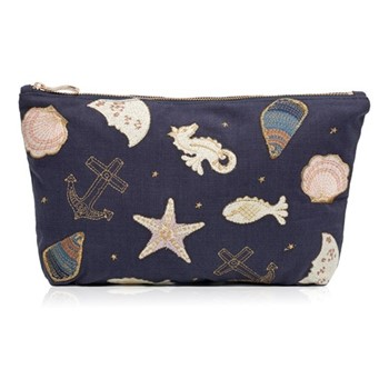 Kenya Collection - Seashell Travel pouch, 20 x 30cm, navy