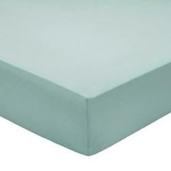 200TC Plain Dye Super king size fitted sheet, L200 x W150 x H32cm, jade