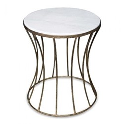 Venice Table medium, 30 x 35cm, iron and marble with antique gold effect finish
