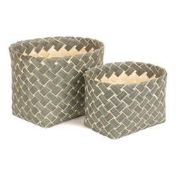 Grey Poplar Set of 2 storage baskets, poplar chipwood