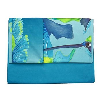 Sipping Nectar Single bed linen  set, blue/green - sateen  finish