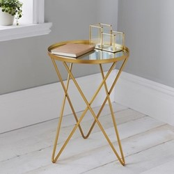 Side table, L38 x W38 x D52cm, gold