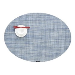Mini Basketweave Set of 4 oval placemats, 36 x 49cm, chambray