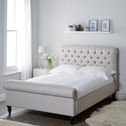 Aldwych Scroll double bed, Natural Linen