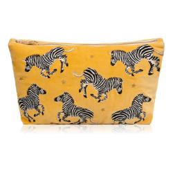 Zebra Velvet Pouch, W20 x L30cm, mustard