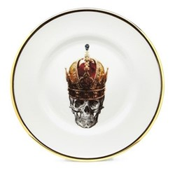 Skull in Red Crown Side plate, 17cm, crisp white/burnished gold edge
