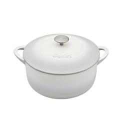 Natural Cast Iron Round casserole dish, D26cm, Light Grey