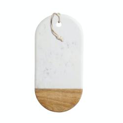 Rectangular board, 16.5 x 33.5 x 1.5cm, Mango Wood And White Marble