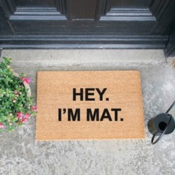Hey Im Mat Doormat , L60 x W40 x H1.5cm