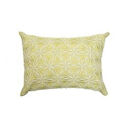Martha Geometric Rectangular linen cushion, L50 x W30cm, chartreuse