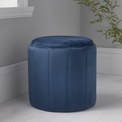 Round plush stool, L43 x W43 x D42cm, blue
