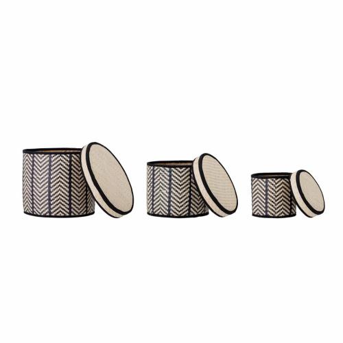 Palm Leaf Set of 3 baskets, Black