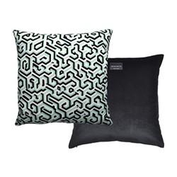 Maze Velvet cushion, 40 x 40cm, jade/cream/black