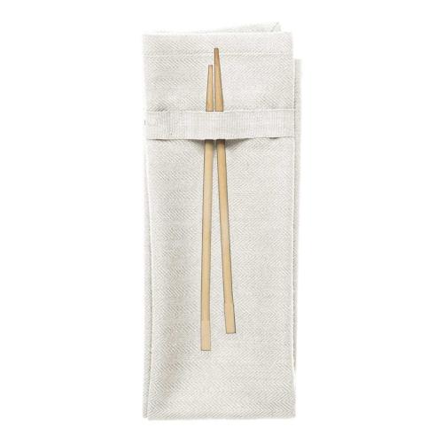 Herringbone Napkin, 40 x 50cm, Natural White