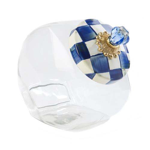 Royal Check Cookie jar, H20 x W15cm, Blue & White