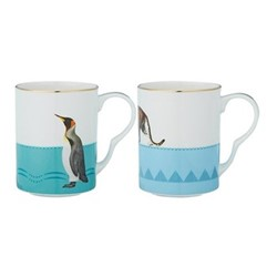 Cheetah and Penguin Pair of mugs, H10.5 x W11 x D8cm