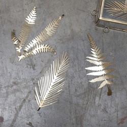 Kiko Set of 3 small foliage artwork, 15 x 6cm, matt brass