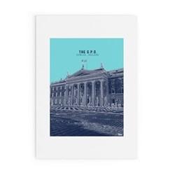 Dublin Landmark Collection - GPO Framed print, A4 size, blue/navy