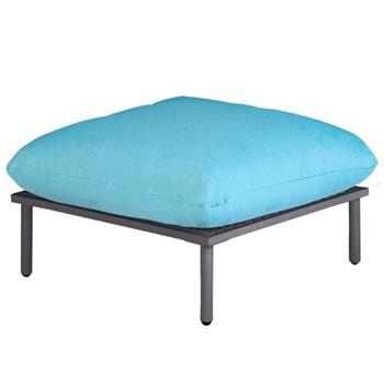 Beach Footstool, H49 x W80 x D80cm, flint/turquoise