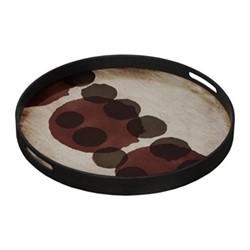 Layered Dots - Slate Small round glass tray, D48 x H4cm, pinot