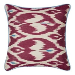 Ikat Cushion, 50 x 50cm, Burgundy/Blue
