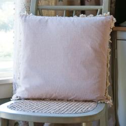Thickweave/Fringe Cushion, 45 x 45cm, Pale Rose