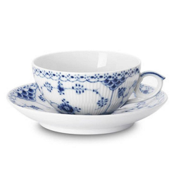 Blue Fluted Half Lace Teacup and saucer, 200ml