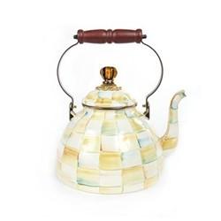 Parchment Check Tea kettle, 3 quart, cream
