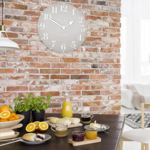 Arabic Small wall clock, 30cm, Dove Grey Resin