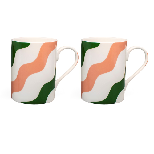 Scallop Collection Set of 2 Mugs, H10cm, Green And Pink