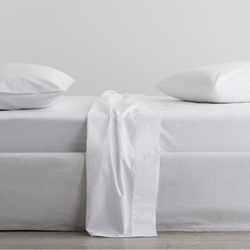 300 Organic Percale Superking fitted sheet, 180 x 203 x 38cm, snow