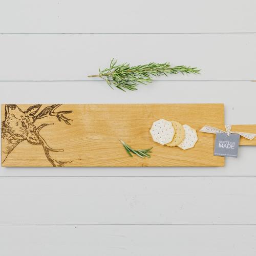 Stag Long serving paddle, L65 x W15 x H2cm, Oak